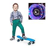 relaxdays Skateboard LED f. Kinder, 22 Zoll Mini Cruiser m. Leuchtrollen, ABEC 7 Alu-Trucks m. Gummi...