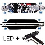 FunTomia Longboard Skateboard Drop Through Cruiser Komplettboard mit Mach1 ABEC-11 High Speed...