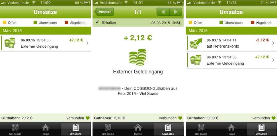 cosboo auszahlung kesh konto