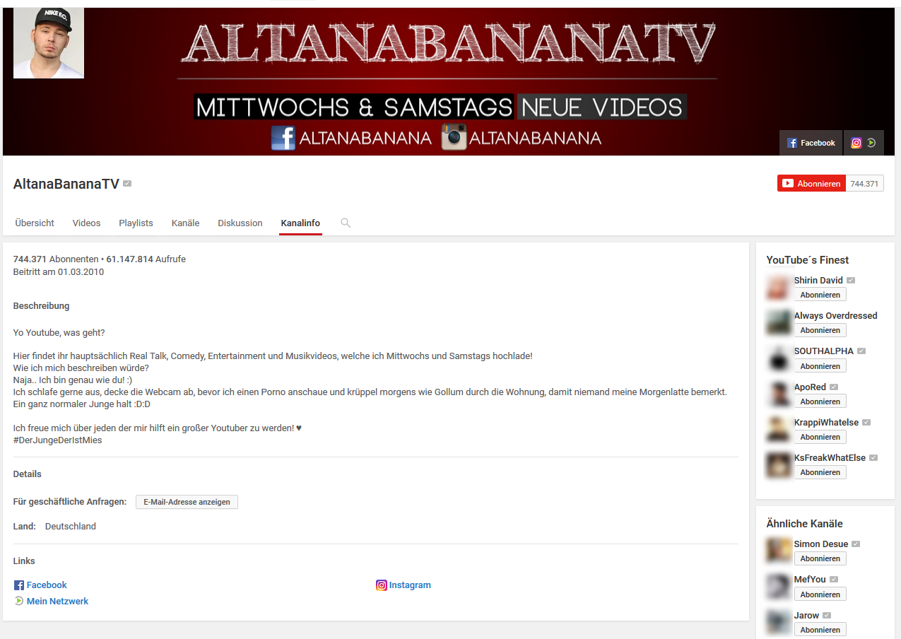 altanabananatv youtube verdienst
