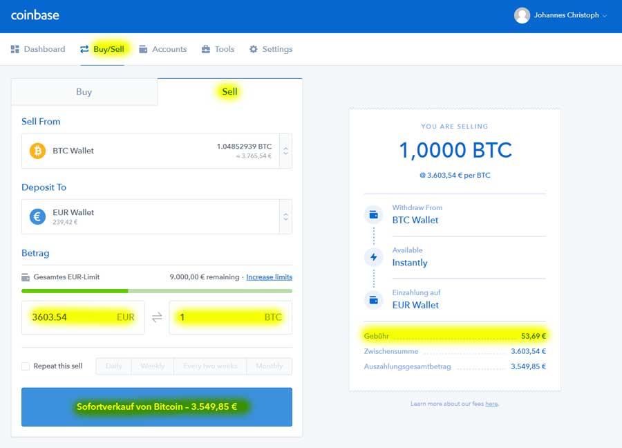 coinbase-bitcoin-verkaufen