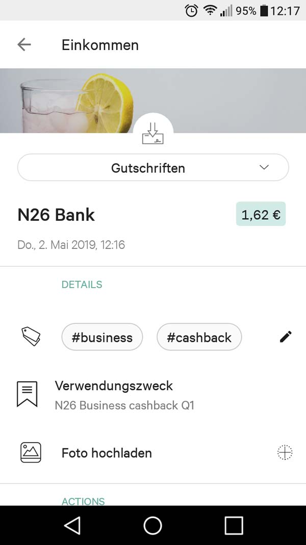 N26 Geschäftskonto Kredikarte Cashback