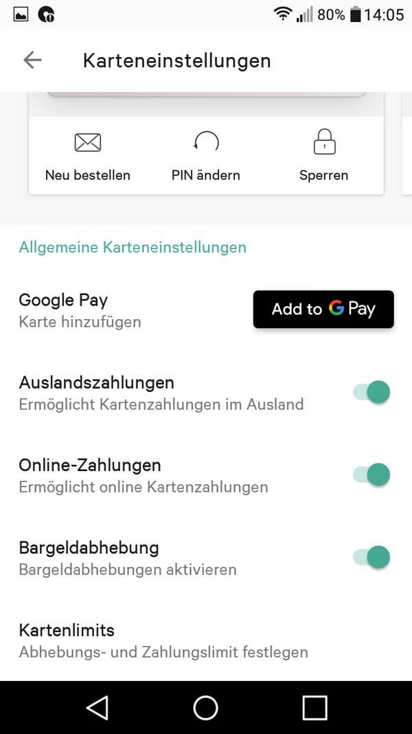 N26 Geschäftskonto App Karteneinstellungen