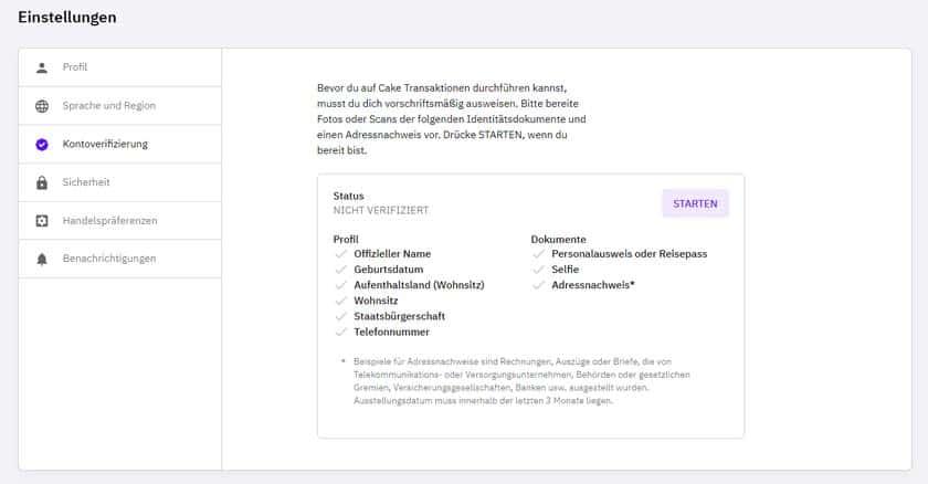 Screenshot Cake DeFi KYC & Verifizierungsbedingungen