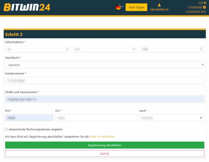 Bitwin24 Schritt 2 Daten vervollständigen
