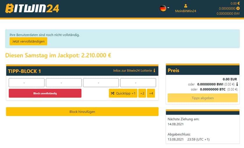 Nach der Registrierung bei Bitwin24 Dashboard