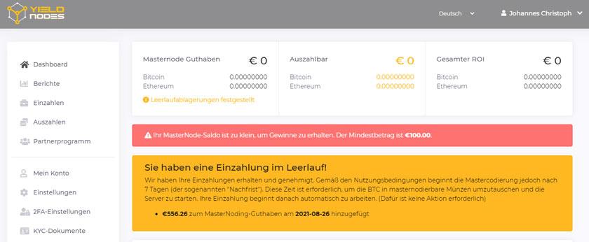 Screenshot Yieldnodes Einzahlung Bestätigung und Sperrfrist