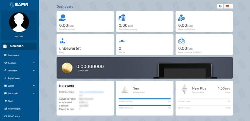 Screenshot Safir Dashboard nach Account Upgrade