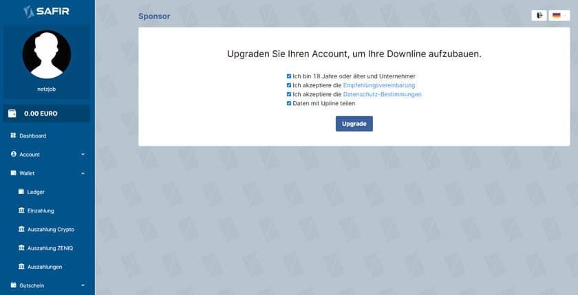 Screenshot Safir Account Upgrade