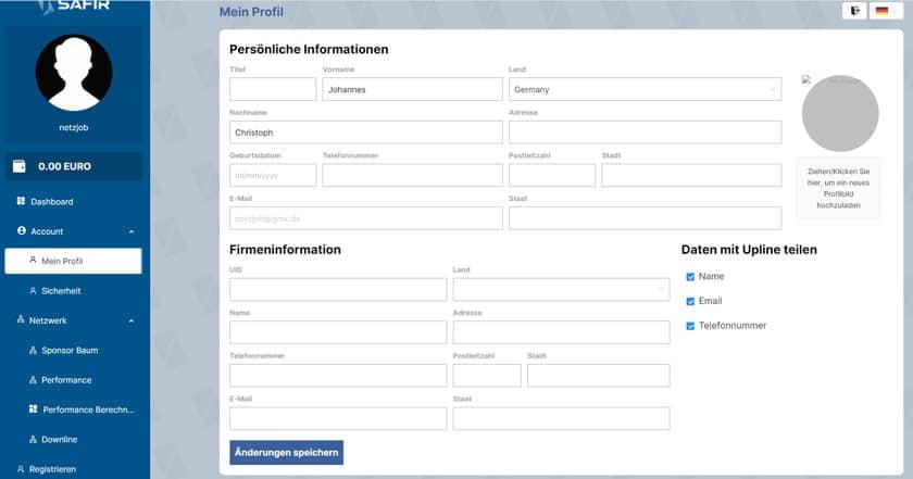 Screenshot Safir Profil vervollständigen