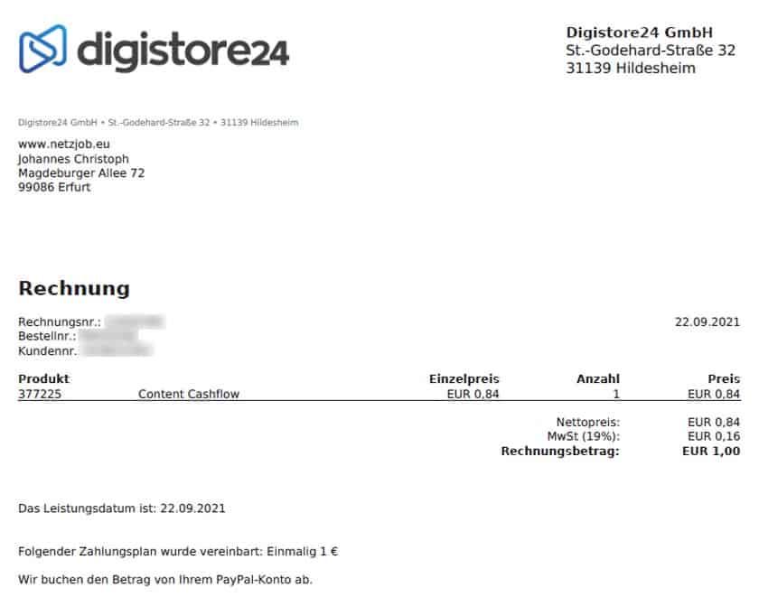 Screenshot der Content Cashflow Digistore24 Rechnung