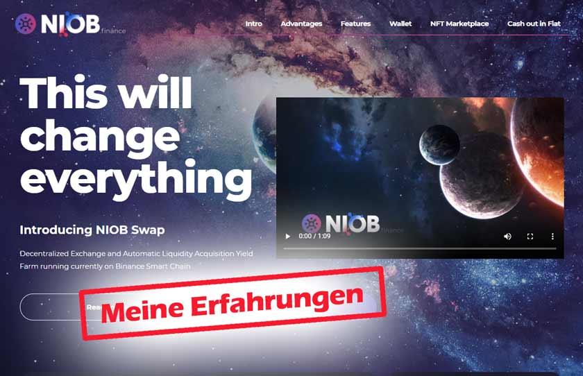 Screenshot NIOB.finance Webseite mit dem Schriftzug meine Erfahrungen