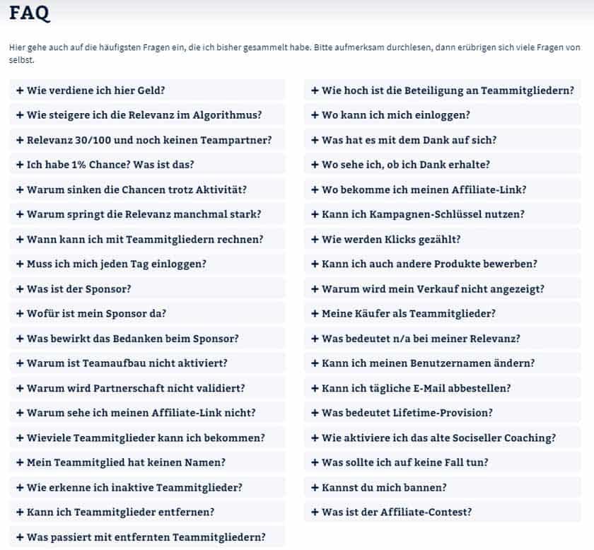 Screenshot Sociseller Society FAQ