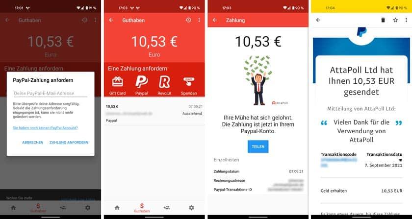 Screenshot Strecke zur Paypal Auszahlung bei AttaPoll