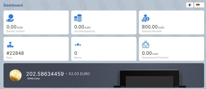 Screenshot: ZENIQ Coins Minting Backoffice