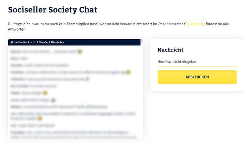 Screenshot: Sociseller Society Chat Funktion im Backoffice
