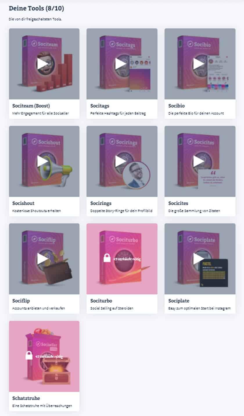 Screenshot der Tools in der Sociseller Society